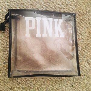 Victoria Secret Pink Transparent Clear Zipper Bag